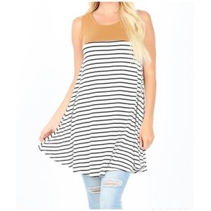 "NEW ""Adriana"" sleeveless solid & striped tunic top"